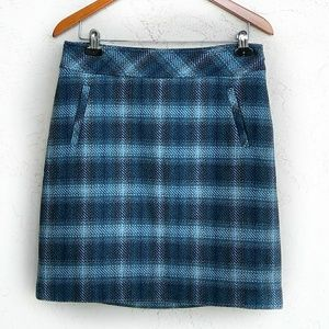 NWT TALBOTS Plaid A-Line Mixed Wool Skirt Size 6.